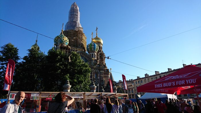 Saint Petersburg's Fan Fest is just five minutes away from school, at Koniushennaya Square! Pretty cool, huh?