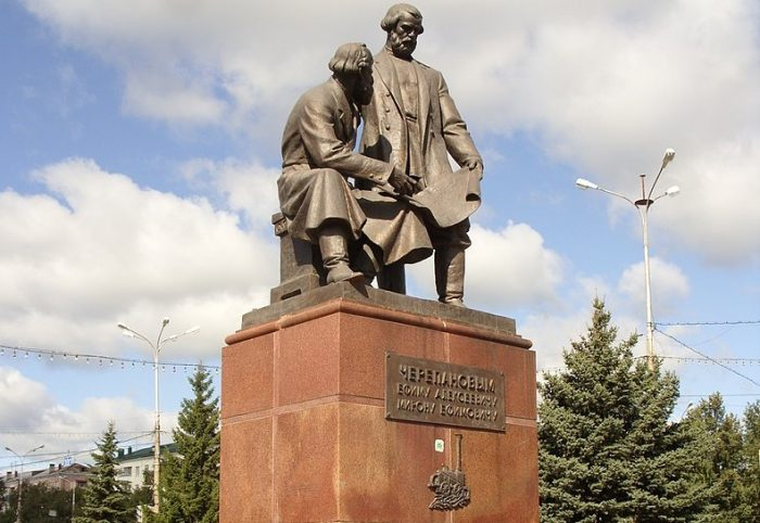 a statue of the Cherepanovs